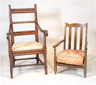 Pair of Arts & Crafts Style Carved Oak Armchairs