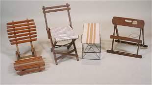 Four Assorted Vintage Folding Seats