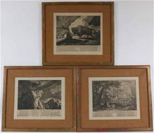 Three Black and White Prints of Animals