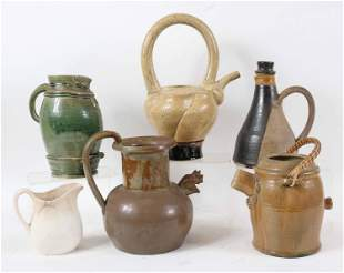 Six Ceramic Pitchers and Teapots