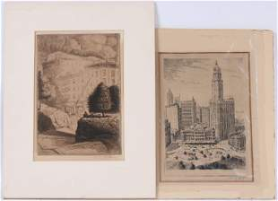 Two Irving Wolfson Engravings of City Scenes