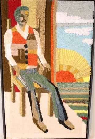 Framed Hooked Pictorial Rug
