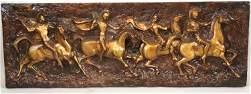 Painted Fiberglass Plaque of Roman Warriors