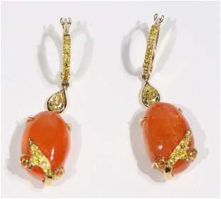 Pair of Laura Munder Mandarin Garnet Earrings