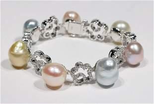 Multi-Colored Pearl and Diamond Bracelet