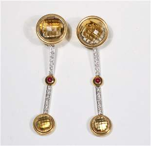 Pair of Citrine, Ruby & Diamond Earrings