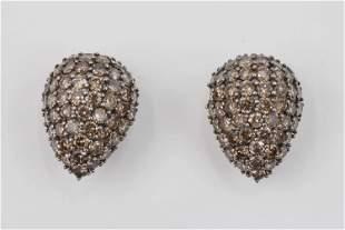 Pave Champagne and Cognac Diamonds Dome Drops