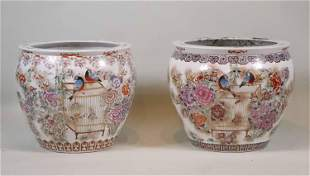 Large Pair of Chinese Porcelain Fish Bowls