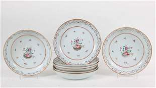 Eight Chinese Export Famille Rose Plates