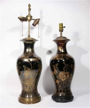 Two Chinese Gilt-Decorated Table Lamps