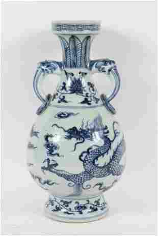 Chinese Blue-and-White Dragon Porcelain Vase
