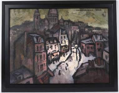 Oscar Rabin, Oil on Canvas, Street Scene