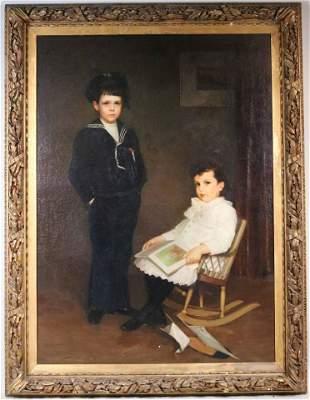 Oil on Canvas, W.W. Churchill, Portrait of Boys