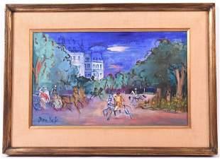 Oil on Paper, Street Scene, After Jean Dufy
