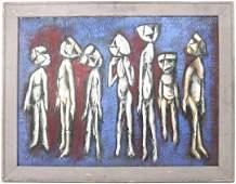 """Oil on Board, Jack Orr Smith, """"Seven Men"""""""