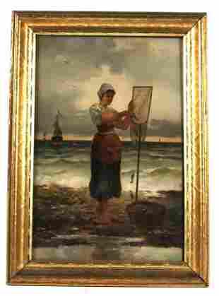 Oil on Board, The Fisherwoman