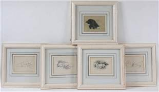 Five Lucy Dawson, Black & White Drawings of Dogs