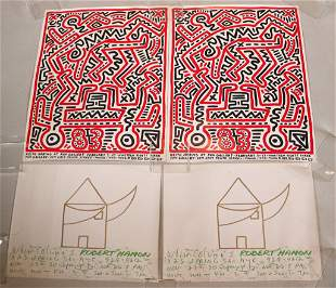 Two Keith Haring Poster for Fun Gallery, 1983