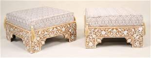 Pair of Moroccan Style Inlaid Square Ottomans