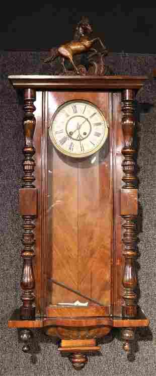 Regency Mahogany Horse-Decorated Wall Clock