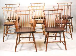 Assembled Set of Eight Faux Bamboo Windsor Chairs