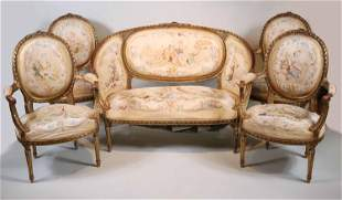 Louis XVI Style Giltwood Seating Suite