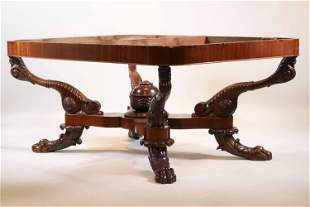 Regency Carved Mahogany Center Table