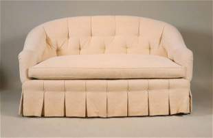 Cream-Upholstered Tufted Back Loveseat