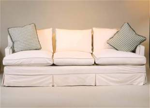 Contemporary White Slipcovered Sofa