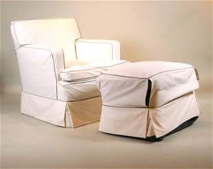 Contemporary Slip Covered Club Chair and Ottoman
