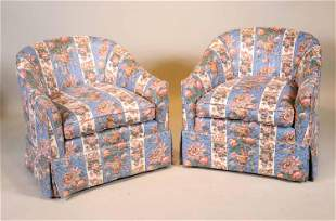 Pair of Contemporary Barrel Back Club Chairs