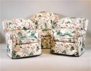 Three Floral-Upholstered Club Chairs