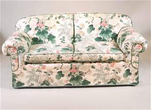 Contemporary Floral-Upholstered Loveseat