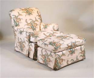 Floral Upholstered Club Chair and Ottoman