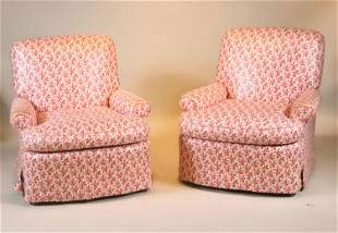 Pair of Coral Pattern Upholstered Club Chairs