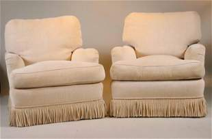 Pair of Beige Chenille Upholstered Club Chairs
