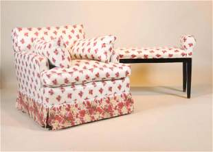 Contemporary Pink Floral Upholstered Club Chair
