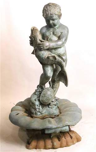 Patinated Bronze Fountain of Boy, Fish, & Turtle