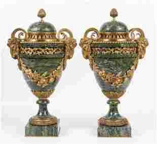 Pair of Neoclassical Ormolu-Mounted Marble Urns
