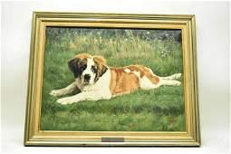 Helen Wilson Sherman Oil on Canvas St. Bernard