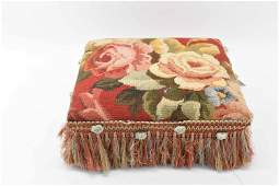 Floral Needlepoint Footstool