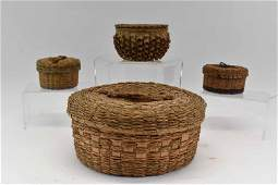 Group of Native American Micmac Round Baskets