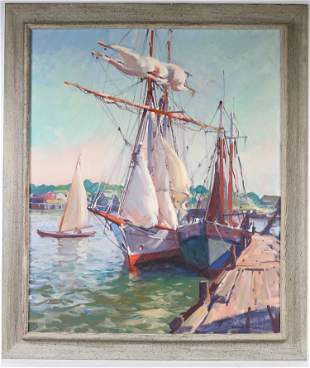 "Emile A. Gruppe, Oil on Canvas, ""The Yankee"""