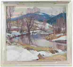 Emile A. Gruppe, Oil on Canvas, Winter Riverscape