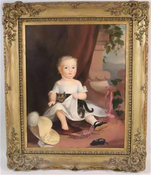 Oil on Canvas, Portrait of Girl Holding a Cat