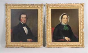 Pair of Oil on Canvas Portraits of The Prescotts