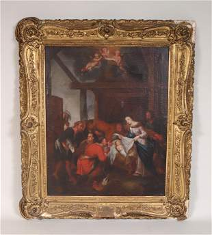 Oil on Canvas Nativity Scene
