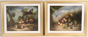 Two Oils on Canvas, Still Life of Fruit & Birds