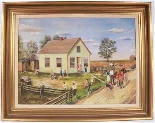 Oil on Canvas, American Schoolyard