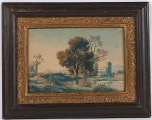 Watercolor on Paper, Trees on River, 18th/19th C.